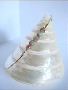 Natural+jasper+beads+bangle++Gold+bangle++Jasper+by+Cecileis