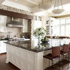 White kitchen cabinets and walls with dark countertops and flooring. Saved this to my iPhone before I had pinterest; don't know where it's from.