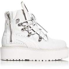 Fenty Puma x Rihanna Women's Platform Sneaker Boots (640 BGN) ❤ liked on Polyvore featuring shoes, boots, platform boots, chunky platform shoes, chunky shoes, sports shoes and chunky-heel boots