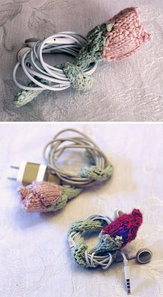 Free Knitting Pattern for Rosebud Cord Keeper - What a clever charming way to keep your earbud or charger cords from tangling! This knit flower has a pipecleaner in the i-cord stem so you can wrap it around your cords neat and pretty! Great use for scrap DK or worsted yarn. Designed by Erin Kate Archer.