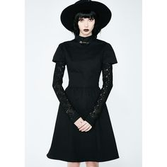 Disturbia Covenant Dress (€65) ❤ liked on Polyvore featuring dresses, lace-sleeve dress, safety pin dresses and disturbia