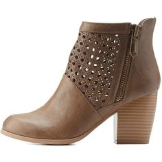 Charlotte Russe Taupe Qupid Laser Cut-Out Chunky Heel Booties by Qupid... ($43) ❤ liked on Polyvore featuring shoes, boots, ankle booties, taupe, cutout booties, chunky heel bootie, short booties, chunky heel boots and thick heel booties