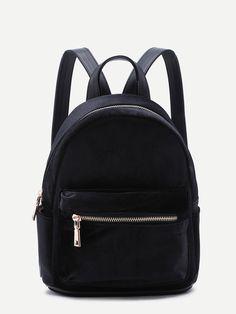 f6f28d0fff Shop Black Velvet Front Zipper Backpack online. SheIn offers Black Velvet  Front Zipper Backpack