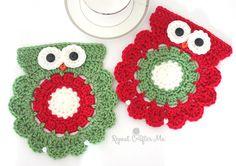 Crochet Christmas Owl Coaster or Trivet | Repeat Crafter Me | Bloglovin'