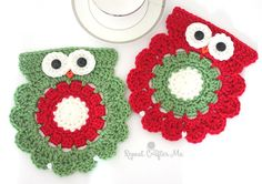 Crochet Christmas Owl Coaster or Trivet | Repeat Crafter Me | Bloglovin'