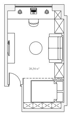 Планировочное решение комнаты 20.3 кв м ПОСЛЕ