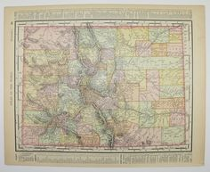 Vintage Colorado Map Antique New Mexico Map Old 1901 State County Unique Gifts Under 20 Black Friday Sale Cyber Monday Sale Gift For Home