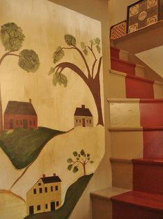 62 Ideas Wall Murals Painted Stairways Basements For 2019 Primitive Homes, Primitive Folk Art, Country Primitive, Primitive Decor, Prim Decor, Country Decor, Painted Stairs, Painted Walls, Early American