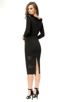 Long sleeved 3/4 bodycon party dress- back view Rochie party (Revelion)- detaliu spate