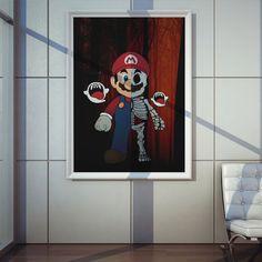 Poster Plugging Super Mario em papel de alta qualidade com impressão laser, suasdimensões são de 57centímetrosde largura e 80centímetrosde altura, o pôster é inspirado na camiseta Plugging Que Mario