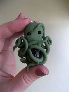Polymer Clay Octopus Pendant with glass bead in the tentacles