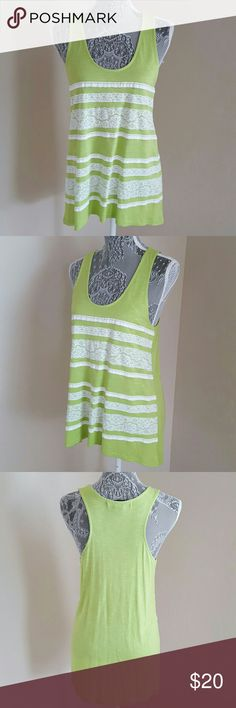 Lime Lace Tank Top Summer lime, high-low tank top with pretty lacing details on the front of the bodice and solid on the back. New without tags. 100% rayon and machine washable. 89th & Madison Tops Tank Tops