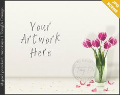 White Table Styling, Pink Tulips, Gold Confetti & Petals   Blank Empty wall   Styled Stock Photography   JPG Custom Styled Scene Creator