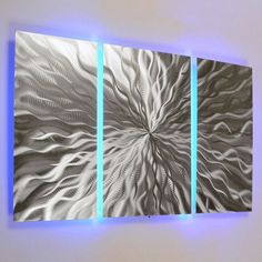"""""""Cosmic Energy 3 Panel"""" - 40""""x24"""" Abstract Metal Wall Art with LED Infused Color Changing Lighting & Remote Control"""