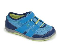 See Kai Run - Magnuson Big Kid Washable Runner in Blue features a flexible rubber outsole and adjustable hook-and-loop strap.