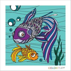 This is a picture I made with the app it is called Colorfy Adult coloring picture Baby Fish, Fish Swimming, Little Fish, For Stars, Art Pictures, Adult Coloring, Rooster, Spiderman, Moose Art