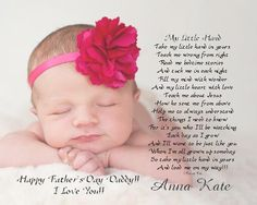 """Daddy's First Father's Day Gift from Baby """"My Little Hand"""" 8x10/11x14 Personalized Poetry Print by foxcreationsonline on Etsy https://www.etsy.com/listing/189289094/daddys-first-fathers-day-gift-from-baby"""