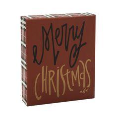 """Merry Christmas Plaid Edge Box Sign, 5"""" x 6"""""""