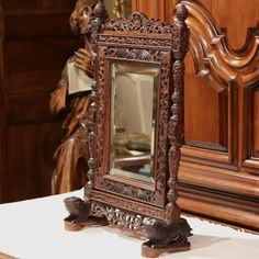 ~ 19th Century French Carved Black Forest Free Standing Mirror with Beveled Glass ~ 1stdibs.com