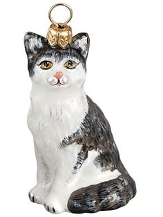 gray cat - American Shorthair Gray & White Cat Christmas Ornament