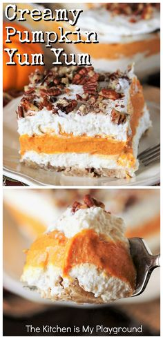 Pumpkin Yum Yum Dessert ~ Fall creamy comfort at its best. This easy-to-make layered dessert has creamy pumpkin deliciousness sandwiched between two layers of fluffy sweetened cream cheese, all atop a cinnamon & pecan studded crust. It's indeed totally yummy, just as its fun name suggests! #yumyum #pumpkindesserts www.thekitchenismyplayground.com