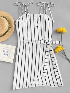 #Spring #AdoreWe #ROMWE - #ROMWE Striped Knot Side Cami Dress - AdoreWe.com