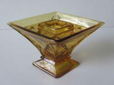 Vintage art deco amber glass rose bowl flower vase great shape no chips