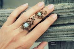 Wire wrapped armor ring with Amazonite by IanirasArtifacts.deviantart.com on @DeviantArt
