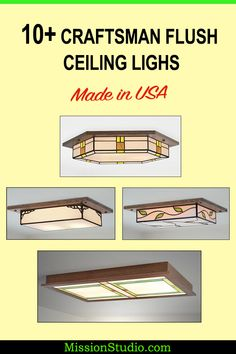Collection of handmade in the USA Craftsman and Mission Style Ceiling Lights. Select from many different style and customize your wood and glass colors when ordering. Flush Lighting, Flush Ceiling Lights, Ceiling Light Fixtures, Craftsman Chandeliers, Craftsman Lighting, Classic Architecture, Custom Glass, Hanging Pendants
