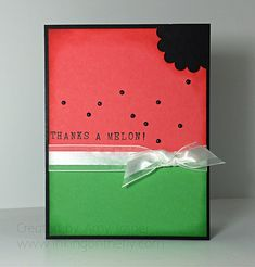Fun watermelon card with a play-on-words. Designed by Amy Jasper using the Rotary Alphabet Stamp from Stampin' Up!