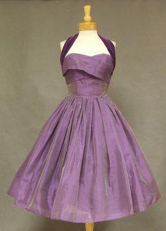 Violet organdy and velveteen cocktail dress, 1950s