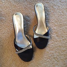 Black bridesmaid shoes Worn once for a wedding. Black with rhinestones and in like new condition. David's Bridal Shoes Heels