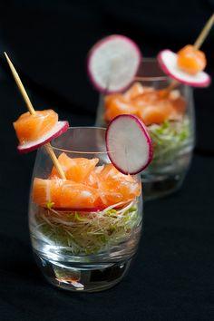 Salmon ceviche with alfalfa sprouts and white raddish pickle.