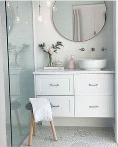 Best Ideas For White Bathroom Tile Designs 40 White Bathroom Tiles, Bathroom Tile Designs, Ensuite Bathrooms, Laundry In Bathroom, Bathroom Inspo, Bathroom Interior Design, Bathroom Inspiration, Interior Design Inspiration, Downstairs Bathroom