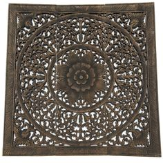 "Elegant Wood Carved Wall Plaque. Wood Carved Floral Wall Art. Bali Home Decor. Asian Wood Carving Wall Art. Decorative Thai Wall Relief Panel Sculpture. 36""x36""x0.5"" Available in Black Wash, Light White Wash and Brown"