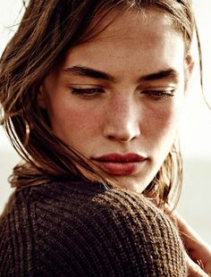 We love her freckles! For a similar lip try Ilia Lipstick in Strike It Up