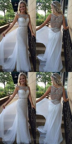 Ivory Prom Dresses Long, 2018 Prom Dresses For Teens Cheap, Sheath/Column Formal Party Dresses Scoop Neck, Chiffon Evening Pageant Dresses Tulle Beading