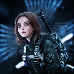 """Jyn Erso from """"Rogue One: A Star Wars Story. Finally I was at the cinema and I could finish this drawing. And how are you? Have you seen it? Do you like it? More STAR WARS >>> Arts *..."""