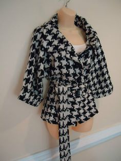 Torrid Womens Plus Size Black White Houndstooth Belted Coat Size 2 18 20 | eBay