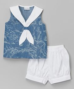 Love this Blue Sleeveless Sailor Top & Shorts - Infant & Toddler by Fantaisie Kids on #zulily! #zulilyfinds