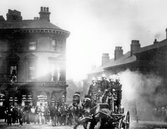 Fire Engine on corner of West Bar and Corporation Street, Sheffield with George and Dragon ale house in background, some time in early George & Dragon, Fire Engine, Sheffield, Museum, Ambulance, History, Street, Ale, Artwork