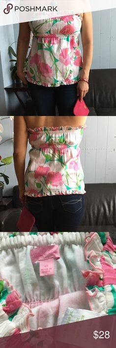 """Lilly Pulitzer Stapless Top Gorgeous Strapless Top. Perfect for summer. In good condition. Measurements: Length approx:""""17""""in. Lilly Pulitzer Tops"""