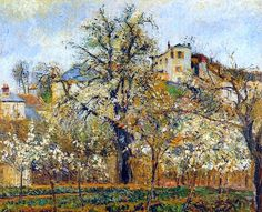 "Камиль Писсарро, ""Огород с деревьями в цвету, весна. Понтуаз"", 1877 г."