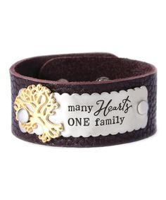 Another great find on #zulily! Mocha & Two-Tone 'Many Hearts' Leather Bracelet #zulilyfinds