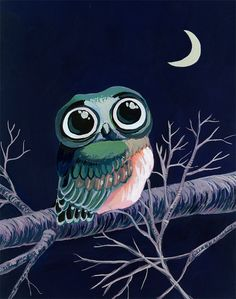 Little Owl art print  gouache reproduction  by courtneyoquist, $45.00