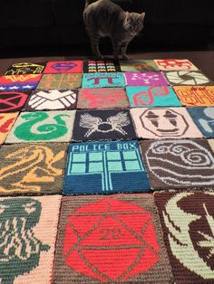 2014 Geek-A-Long: week 32 Supernatural | Tulpa symbol knitting pattern with color chart; double sided knitting