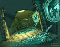 BioShock - Leaking Corridor Art
