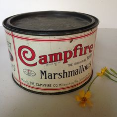 Vintage Campfire Marshmallows tin 1920s red and white by The Campfire Co Milwaukee WI inset lid VGC from MilkweedVintageHome by MilkweedVintageHome on Etsy