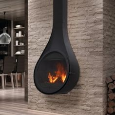 This is a gorgeous log burner for our cave house. Love it - the design is perfect. Hanging Fireplace, Stove Fireplace, Fireplace Design, Fireplace Ideas, Kitchen Stove, Kitchen Wood, Log Burner, Hearth, New Homes