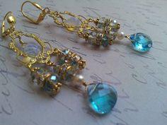Swarovski Crystal chandelier earrings by Tootsiejos on Etsy, $32.00